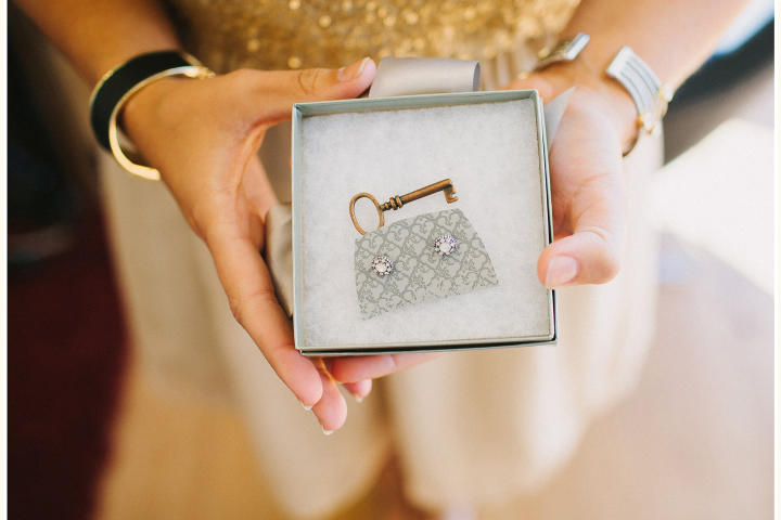 Kaila's all about the sparkle with her wedding day jewelry.