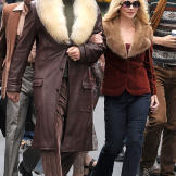Will Ferrell and Christina Applegate on the set of 'Anchorman: The Legend Continues' on May 18, 2013.