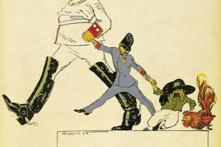 The Triple Alliance saw Germany allied with the Austro-Hungarian Empire and Italy. In this cartoon from a Berlin newspaper Germany drags the Austrian boy while the Italian child throws a tantrum to stay with the French rooster. Due to territorial disputes with Austria Italy would eventually side with the Triple Entente.