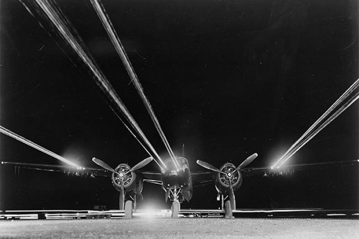 A B-26 light bomber of the 3rd Bomb Wing has its 14 forward firing .50 caliber machine guns tested prior to a night mission against enemy targets in North Korea, where the 3rd Wing B-24 Night Intruders were devastatingly effective.