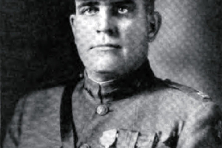 In September of 1918 in France, Captain George Mallon and 9 men had become separated from their company when they came across 9 machine guns which they subsequently captured without loss. Next they moved on to a battery of howitzers which, during its being captured, Mallon attacked one of the enemy with his fists. Next up were two more machine guns. Mallon directed his men to flank them while he himself charged them head on, arriving there first and silencing the guns. Just look at the man - wouldn't you want him on your team?