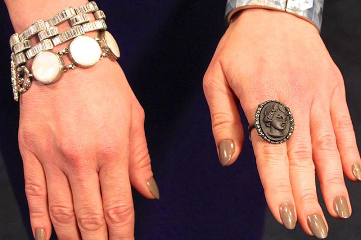 Marble Cuff by Pono, Bracelet by Ben Amun, Gem Bracelet by Stephen Dweck