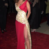 Leah stuns in a glamorous red dress at the 27th Annual People's Choice