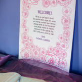 Andrea and Patrick welcomed their wedding guests with a nice message.