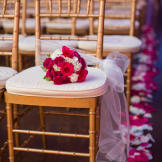 The ceremony was bright and vibrant, but later in the evening the reception transformed to a party atmosphere.