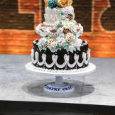 """Al and Manny's elaborate """"traditional"""" wedding cake."""