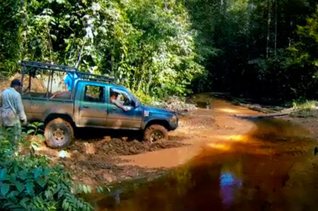 The Crew struggle with muddy streams that are common to the area to get to the virgin ground they've been promised.