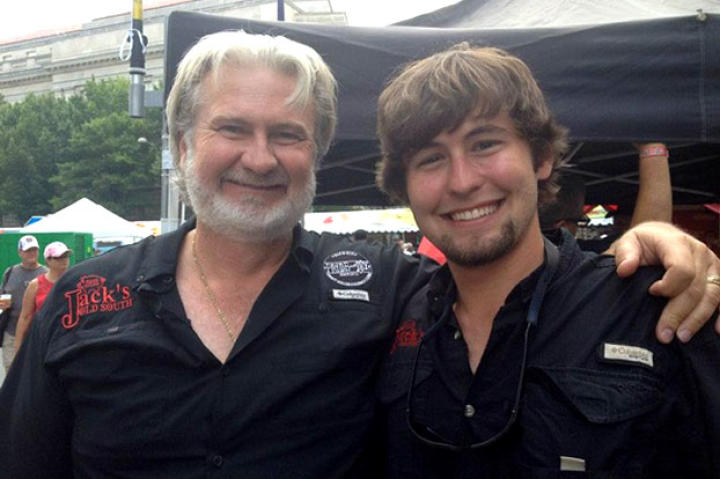 BBQ Pitmasters judge Myron Mixon spends time with his son Michael during filming of BBQ PItmasters.