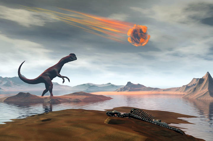 A dinosaur looks up as a massive meteor falls through the sky 65 million years ago.