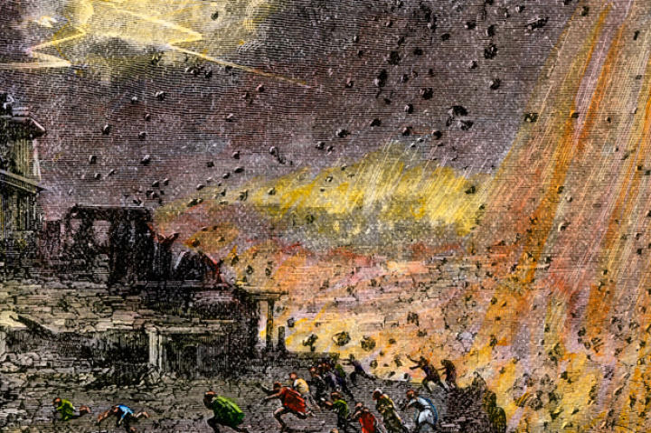 This hand-colored woodcut depicts the destruction of the ancient city of Pompeii by the eruption of Mount Vesuvius in 79 A.D.