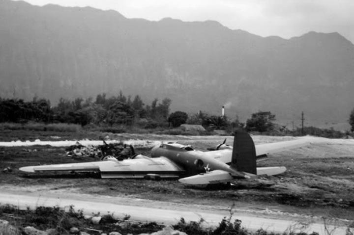 Yet another B-17 that crash landed on Oahu at Bellows Field during the Pearl Harbor attack. The plane had flown in from California.