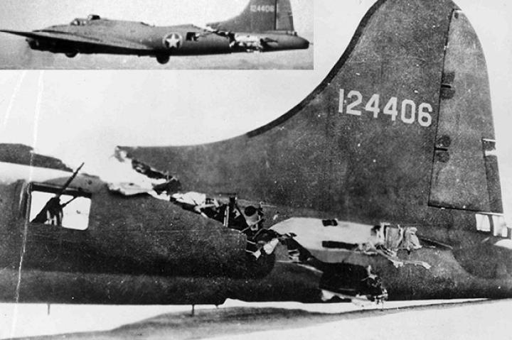Demonstrating its ruggedness, this B-17 is shown flying (insert) steadily along after a collision with a German Me-109. It made it back safely to its base in Biskra, Algeria without its horizontal stabilizer.