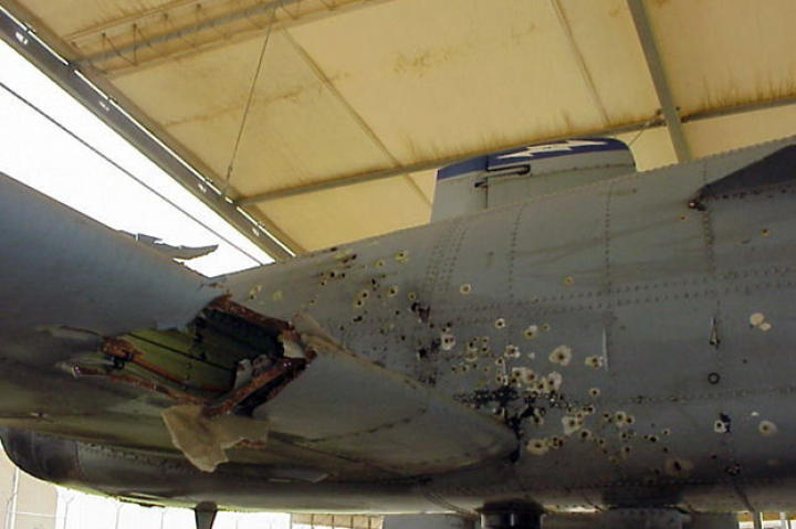 Damaged over Baghdad in 2003, this A-10 Warthog was successfully flown back to a USAF base by its pilot