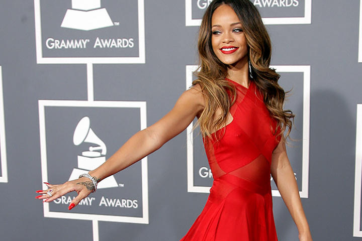 Rihanna in Azzedine Alaia at the Grammys