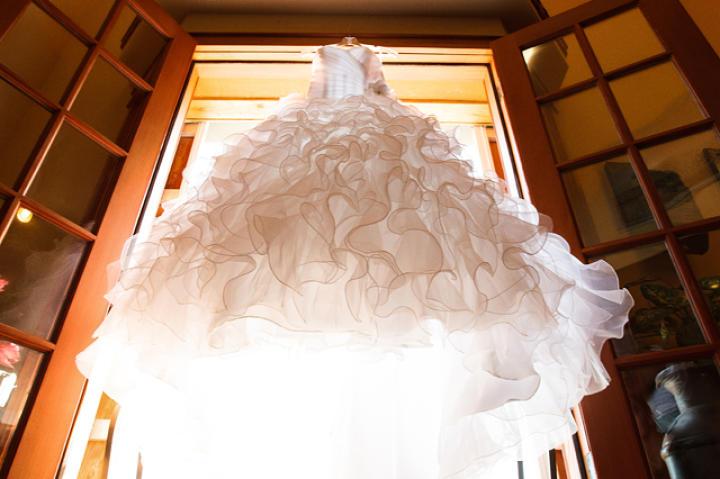 Karen's dress hung in the sunlight.