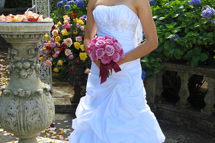 Felicia in her wedding dress.