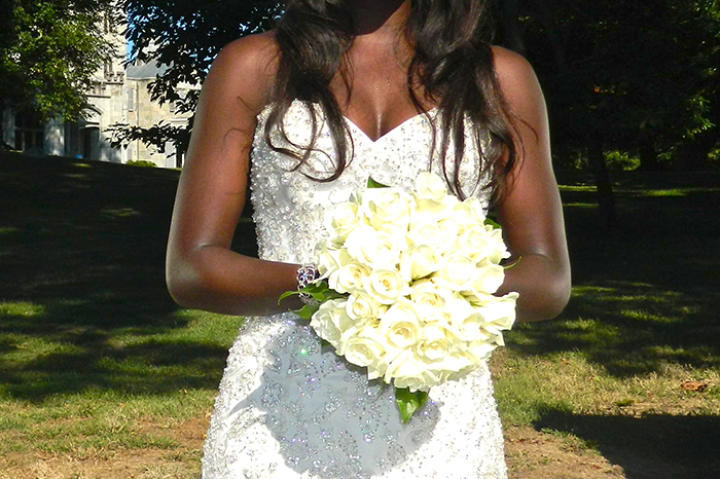 Anthonia in her wedding dress.