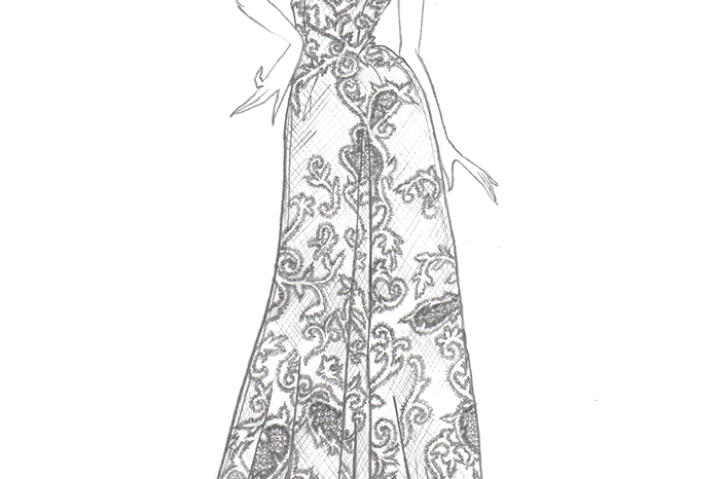 In Kelly's sketches for the gown's update, the