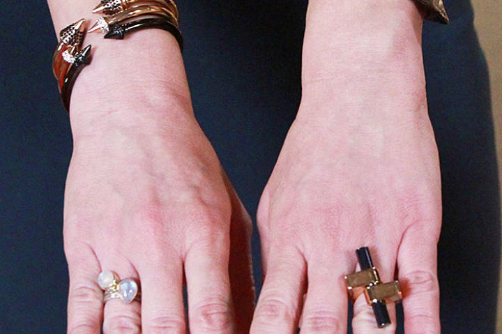 Three Spike Bracelets by Vita Fede, Textured Cuff by Alexis Bittar, Opal Ring by Stacy, Gold Ring by Vita Fede