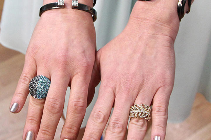 Gold Leaf Ring by J. Crew, Blue Rhinestone Ring by Henri Bendel, 3 bracelets by Vita Fede, Wave Bracelet by Alexis Bittar