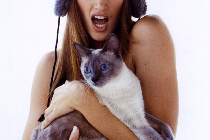 Cindy Crawford poses with only a cat to hide her naked body as part of the People for the Ethical Treatment of Animals (PETA) anti-fur campaign in 1994.
