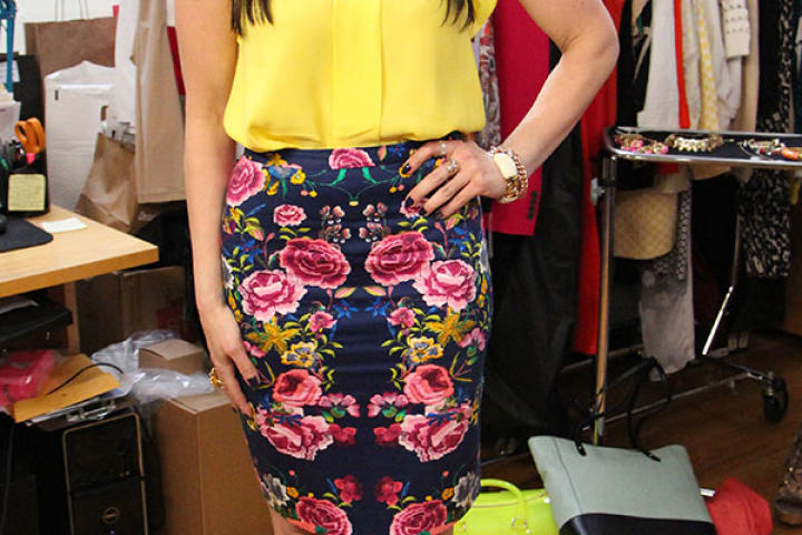 Yellow Blouse and Florsal Skirt by Zara