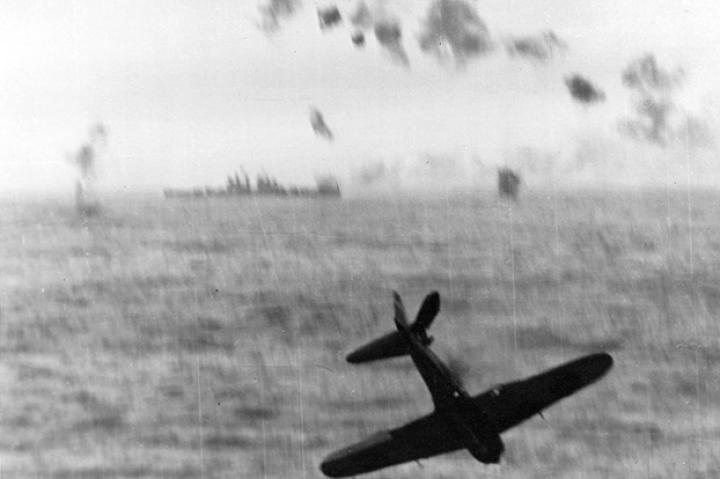 Mission (thankfully) Not Accomplished. A Japanese Zero Kamikaze right before plunging into the sea as it attempted to hit the USS Essex aircraft carrier off of Okinawa in 1945.