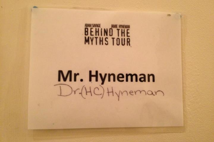 Guess this is my dressing room. (Aug. 30, 2013) From Jamie Hyneman's Twitter feed. Follow