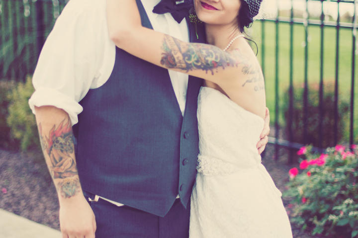 Matt and Angi posed for a photo after their church wedding ceremony.