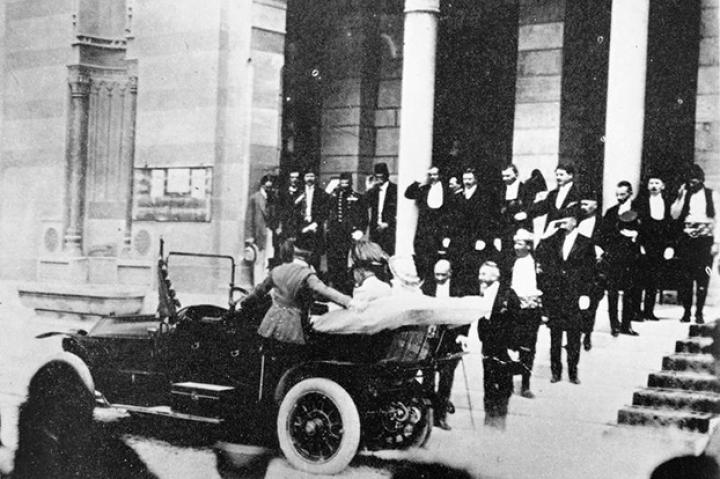 "Heir to the Austro-Hungarian throne Archduke Franz Ferdinand and his wife, Sophie, are pictured here in the back of a motor car shortly before they would be assassinated by Gavrilo Princip, a Yugoslav nationalist, on June 28th, 1914. This event was the oft-cited ""spark that lit the powder keg"" that saw a succession of European powers dragged into what would be the bloodiest conflict in human history. Watch"