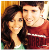 "The University of Arkansas fans pose for a quick selfie. Jessa captioned this photo with ""Ben Seewald -- You're my favorite person in the whole world!"""