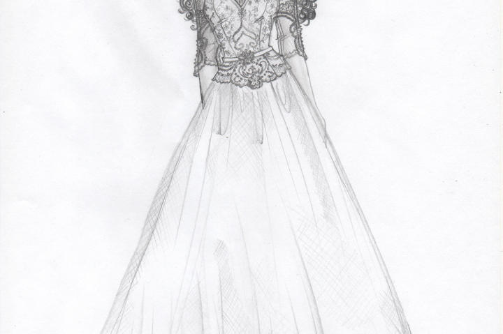 Kelly's update for the dress included a dropped-waist bodice and a sweetheart illusion neckline. She wanted to use Mom's original appliques in a more fashion-forward way.