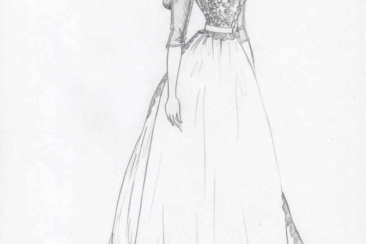 Kelly reimagined the borrowed dress with a much shorter train and illusion sleeves. She hoped to honor Olivia Kate's mother by incorporating some of the original lace in the bodice.