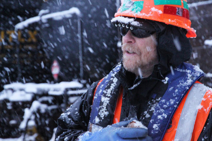 Alaska Railroad crew member Danny Forsman works through the bone-chilling cold.