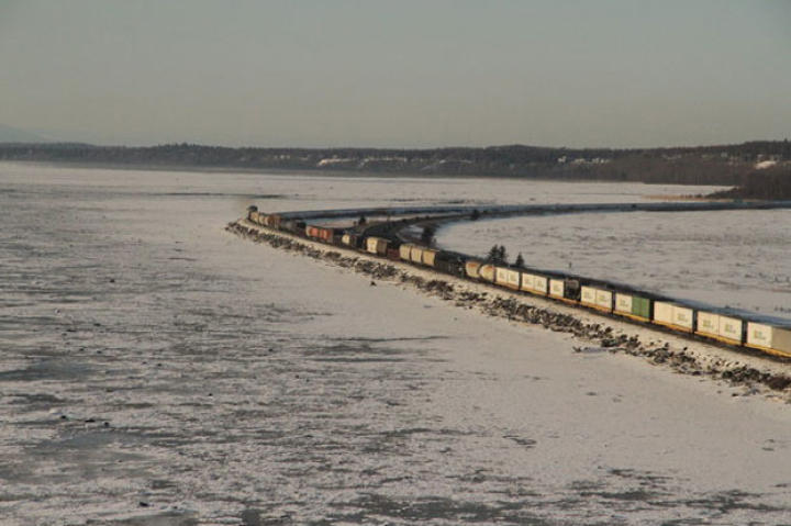A freight train bound for Anchorage, Alaska