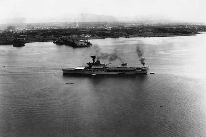 The British carrier HMS Hermes, the first ship laid down as an aircraft carrier, pictured in Honolulu, Territory of Hawaii, 1924.