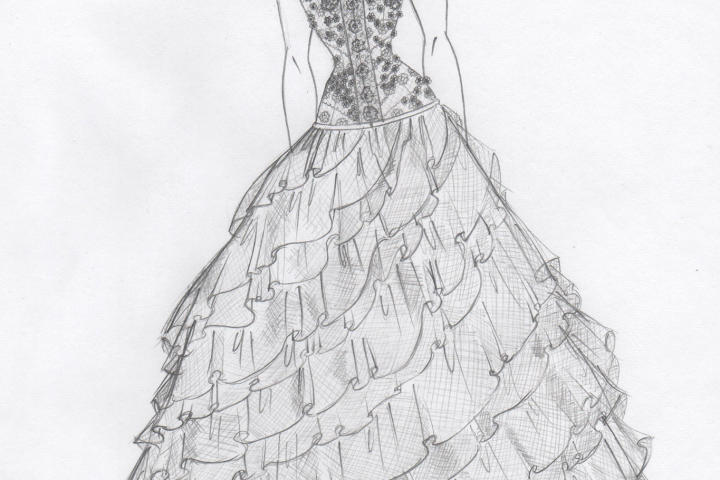 Jennipher insisted she liked nothing about the borrowed dress, but Kelly was determined to make it wearable. She sketched a ball gown with a bandage bodice and planned to use the unique lace.