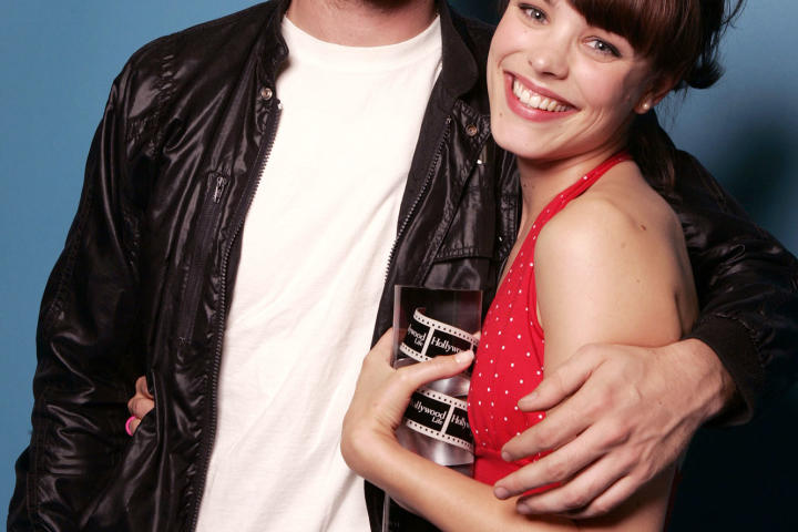 """Rachel poses with actor Ryan Gosling, her costar from """"The Notebook."""" She began acting as a teenager and cut her teeth at summer theater camp with some Shakespeare productions."""