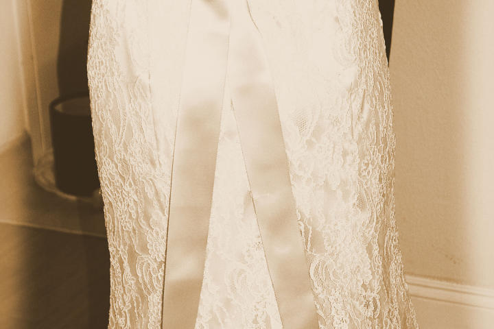 Crissy's wedding dress had a vintage elegance.