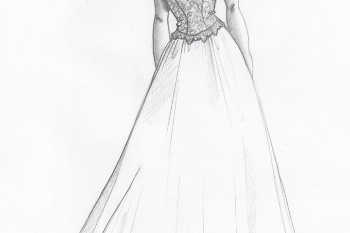 Kelly planned to elevate the vintage vibe of the borrowed gown, taking it from the '80s to the '50s. She sketched a cap sleeve and a stiff satin bow in the back -- a nod to Jackie Kennedy.