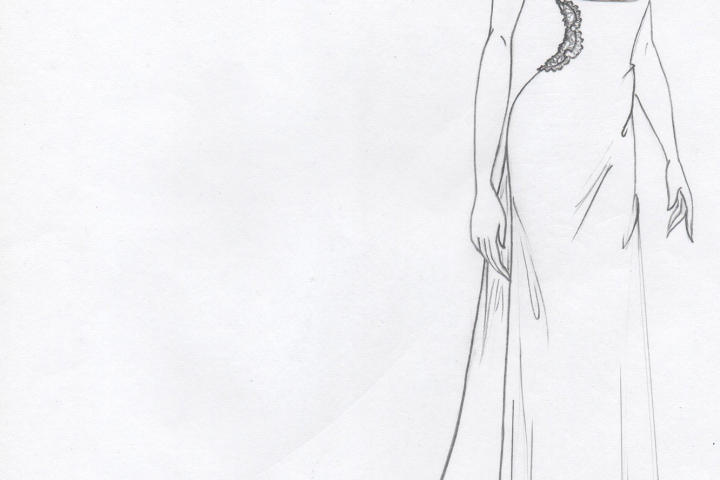 Kelly envisioned this dress with a draped cowl neck and scalloped lace on the waistline to flatter Marcy's petite figure.
