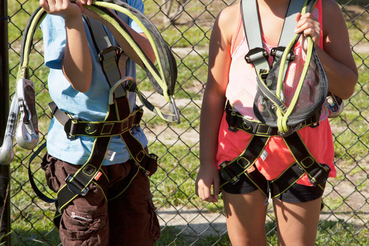 Aaden and Hannah all geared up for zip-lining.