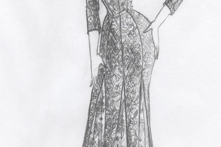 Kelly did, indeed, plan some sexy updates to the borrowed dress -- check out the plunging neckline in her sketch!