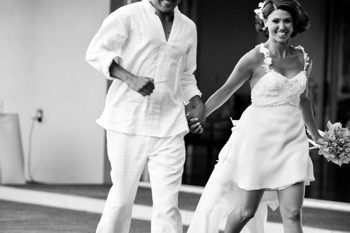 White, breezy attire for this destination wedding couple!