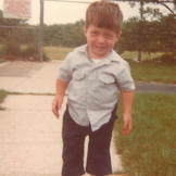 Bill trying out his skates at age 6.