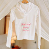 "Katherine's wedding-day hoodie, which reads ""Katherine's Getting"