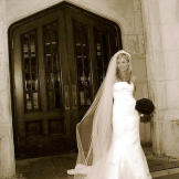 Sophie outside the chapel on her wedding day.