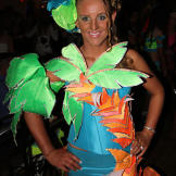 This gypsy bride rocks a palm tree ensemble at her bachelorette party.
