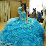 Eden can't believe just how huge her wedding dress is.
