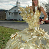 Kayla poses with her money bouquet.